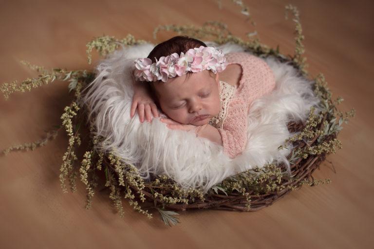 Nouveau-né fille qui porte un body rose avec de la dentelle et une couronne de fleurs, elle est endormie sur le ventre dans un nid