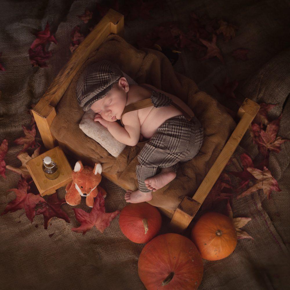 Un nouveau-né garçon habillé d'une salopette à carreaux et d'un béret dort sur un lit en bois entourés de potirons et de feuilles d'automne